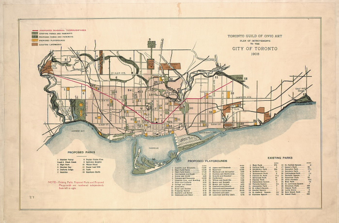1908 Toronto Guild of Civic Art map