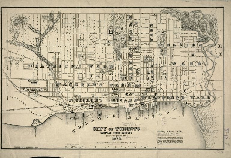 Toronto 1873 Map Copp, Clark & Co Boston Public Library