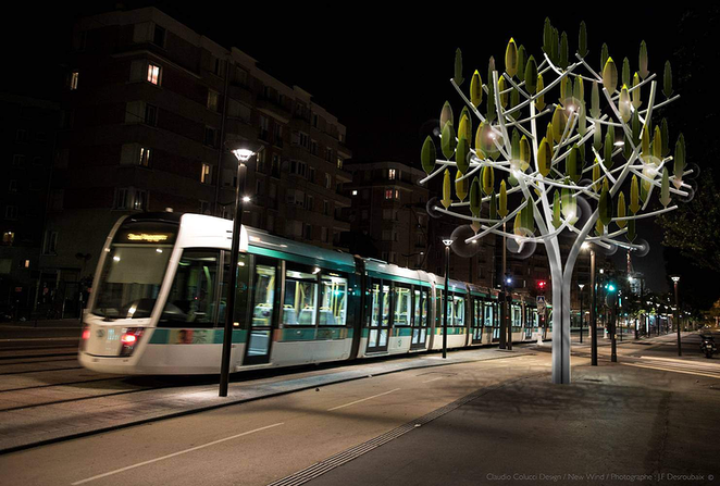 Wind Tree with streetscar
