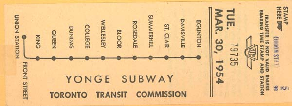 Yonge St Subway token 1954